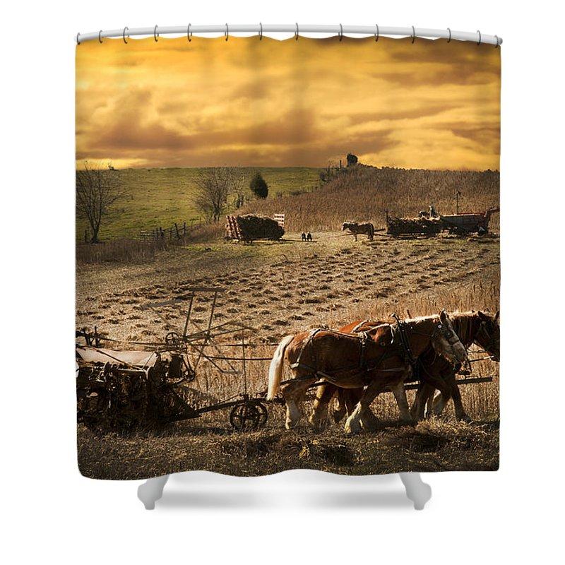 Farming Shower Curtain featuring the photograph Farming Rain Race by Randall Branham