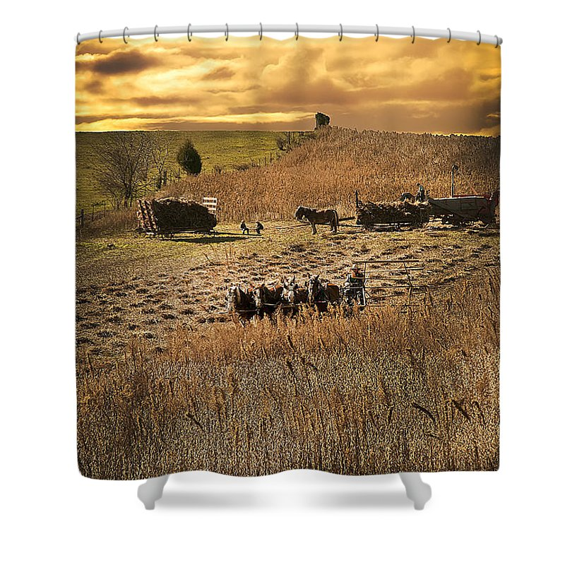 Sundown Shower Curtain featuring the photograph Farming To Beat The Storm by Randall Branham