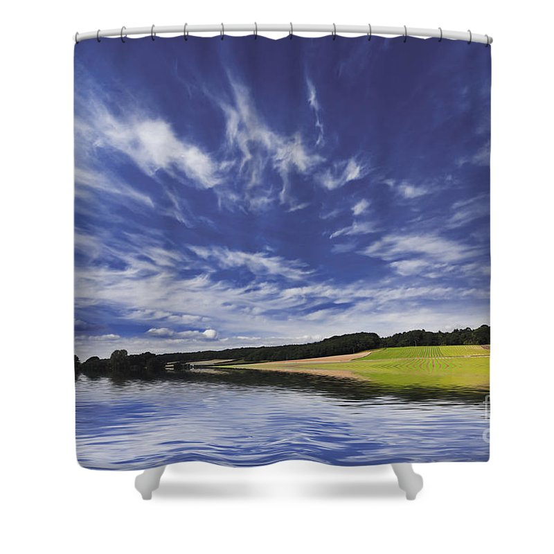 Farming Shower Curtain featuring the photograph Farmland And Lake by Simon Bratt Photography LRPS