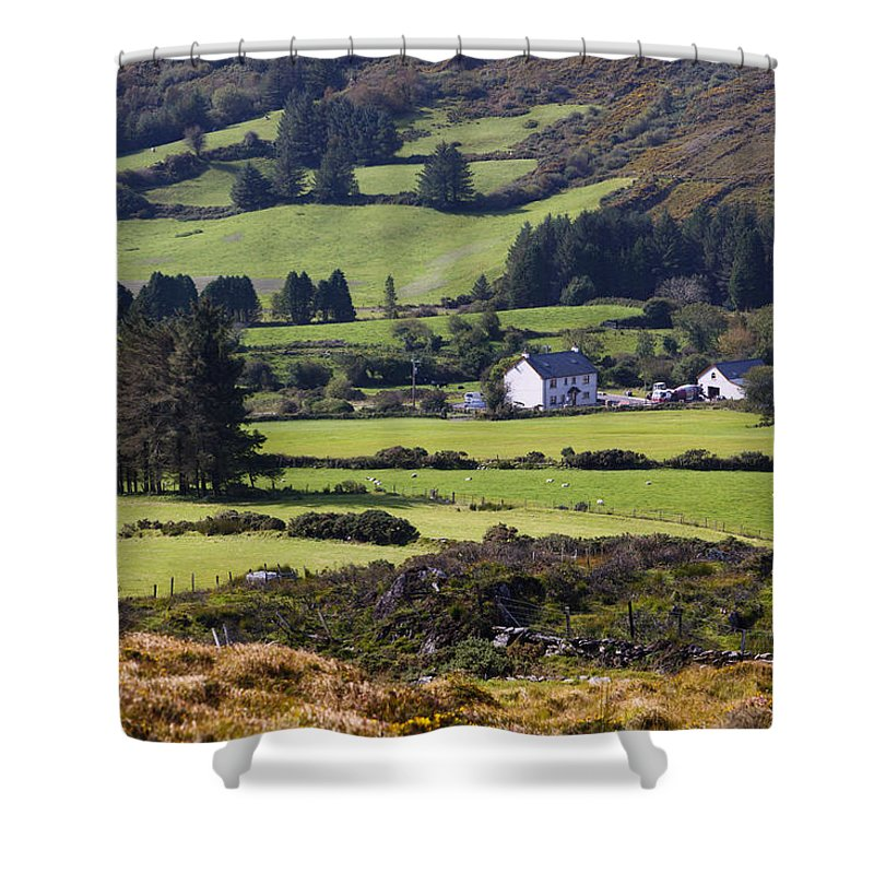 Farmhouse Shower Curtain featuring the photograph Farmland Near Kilgarvan County Kerry by Ken Welsh