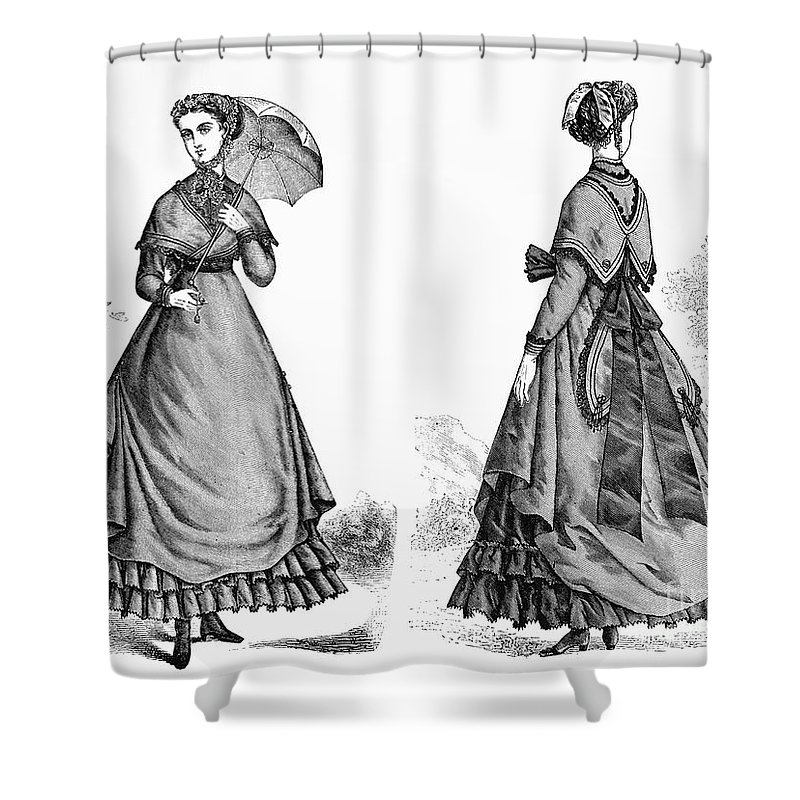 1868 Shower Curtain featuring the photograph Fashion: Women, 1868 by Granger