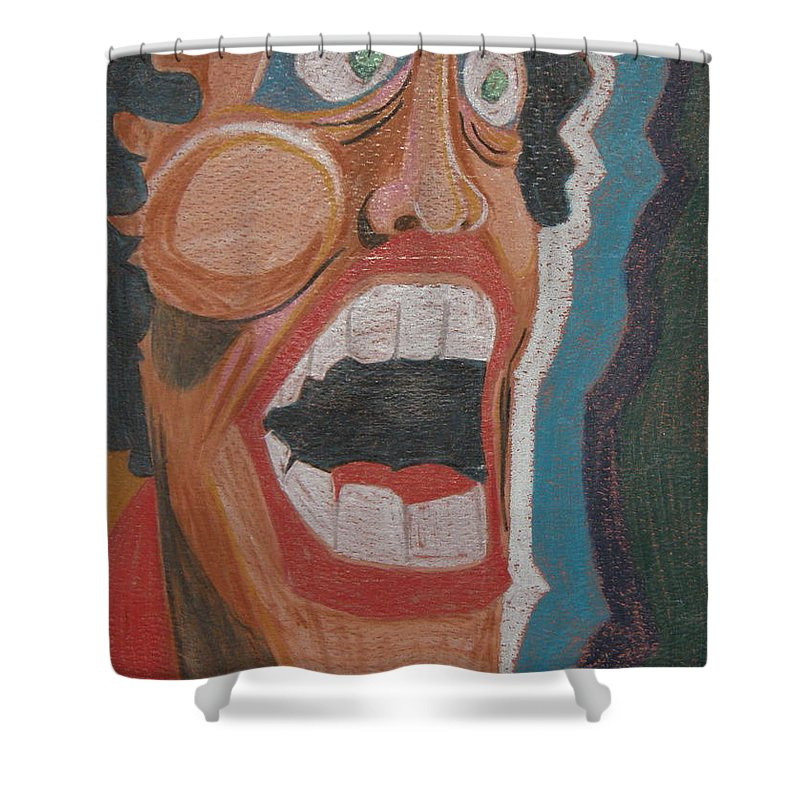 Face Shower Curtain featuring the drawing Fear by Dennis Casto