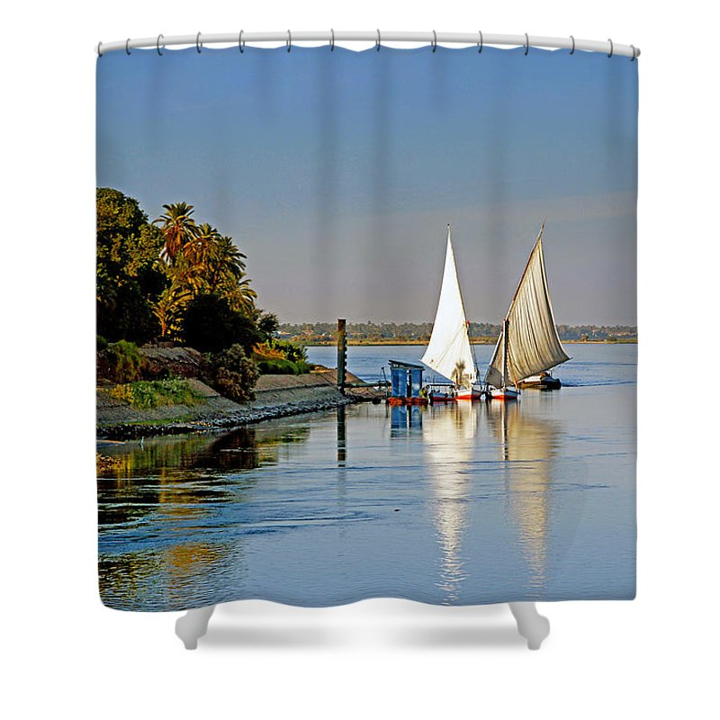Felucca Shower Curtain featuring the photograph Feluccas On The Nile by Roberta Bragan