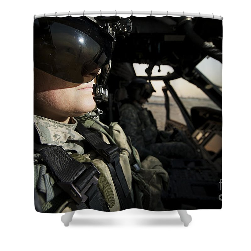 Helicopter Shower Curtain featuring the photograph Female Pilot Commander In The Cockpit by Terry Moore