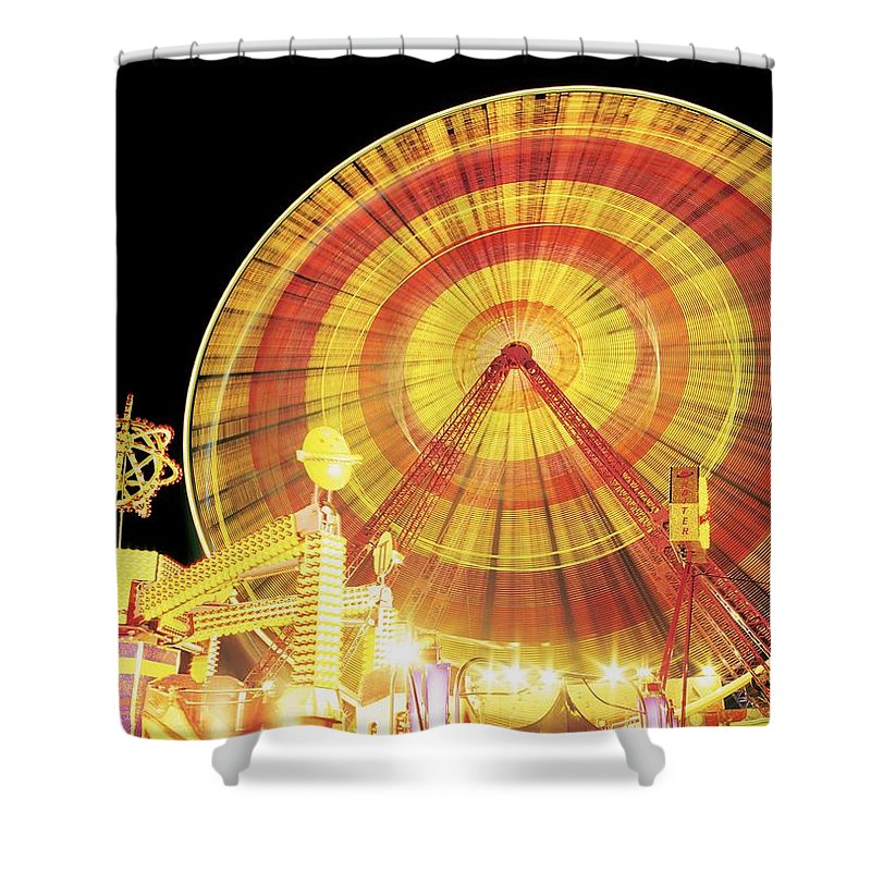 Amusement Park Shower Curtain featuring the photograph Ferris Wheel And Other Rides, Derry by The Irish Image Collection