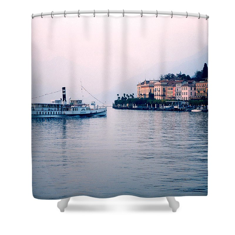 Bellagio Shower Curtain featuring the photograph Ferry To Bellagio On Lake Como by Greg Matchick