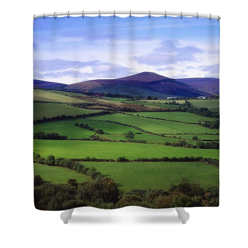 Color Shower Curtain featuring the photograph Fields From The Sugar Loaf Mountain, Co by The Irish Image Collection