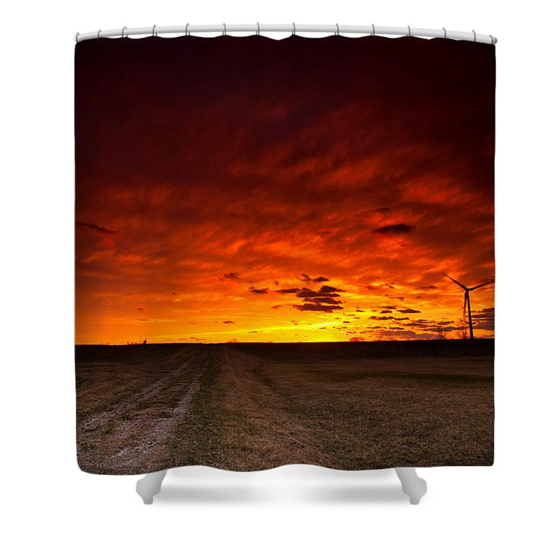 Sunset Shower Curtain featuring the photograph Fiery Sunset by Cale Best