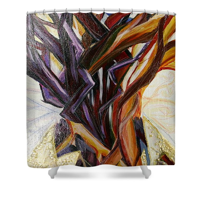 Apple Shower Curtain featuring the painting Fifth World Three by Kate Fortin