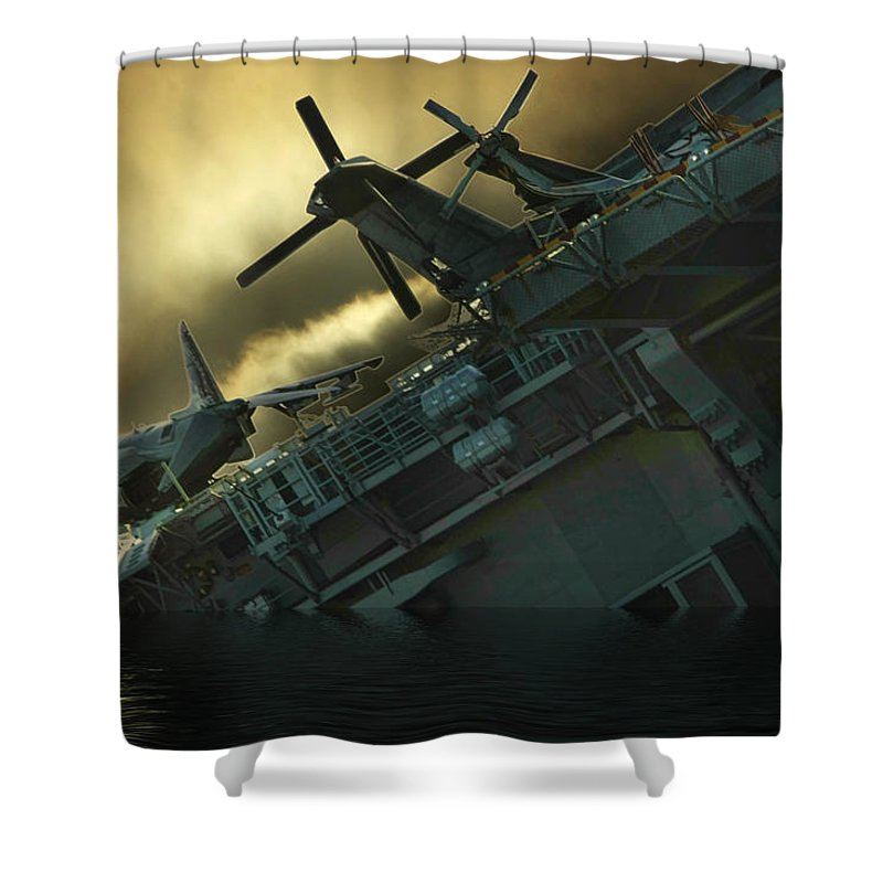 Ship Shower Curtain featuring the photograph Fighter Jets Home by Blake Richards