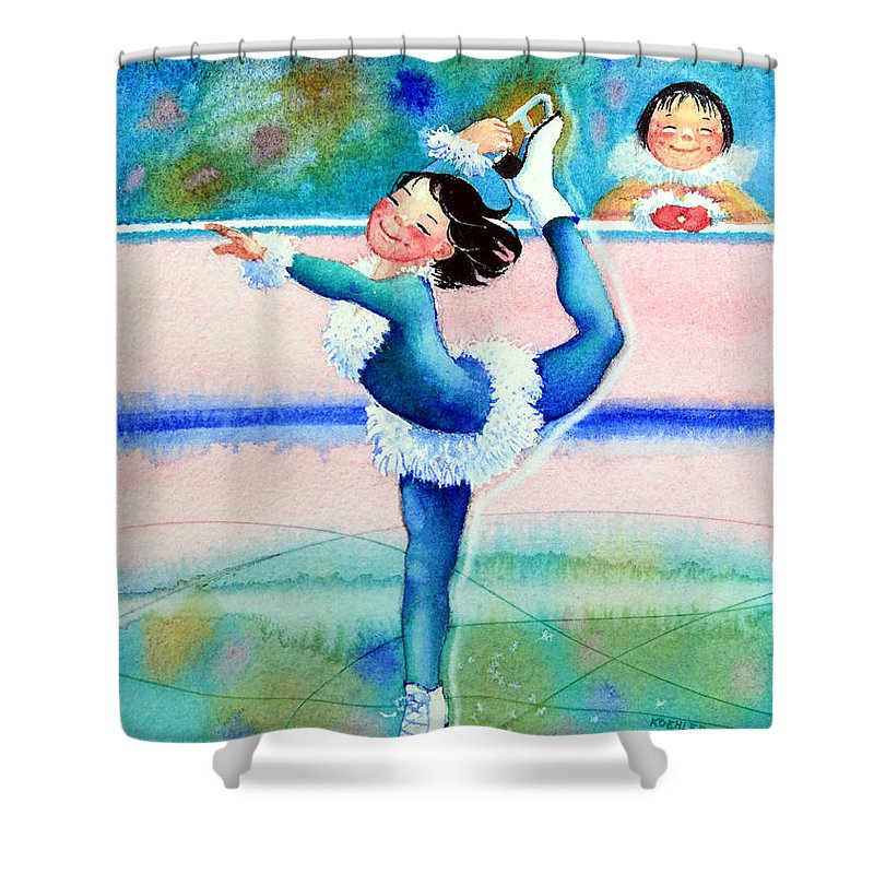 Childrens Book Illustrator Shower Curtain featuring the painting Figure Skater 19 by Hanne Lore Koehler