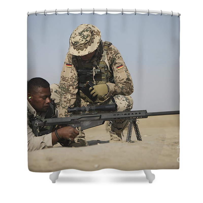Operation Enduring Freedom Shower Curtain featuring the photograph Fijian Contractor Clearing His Barrett by Terry Moore