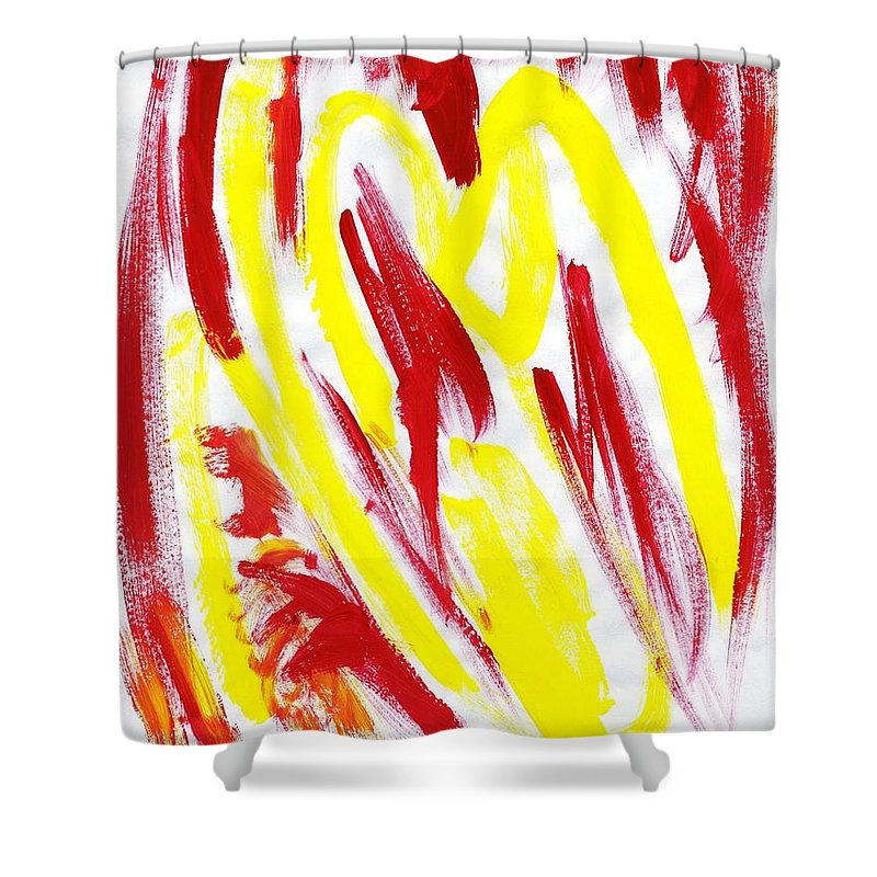 Fire Runner Shower Curtain featuring the painting Fire Runner by Taylor Webb