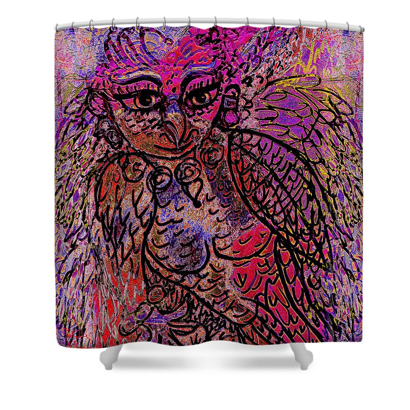 Fantasy Shower Curtain featuring the mixed media Firebird by Natalie Holland