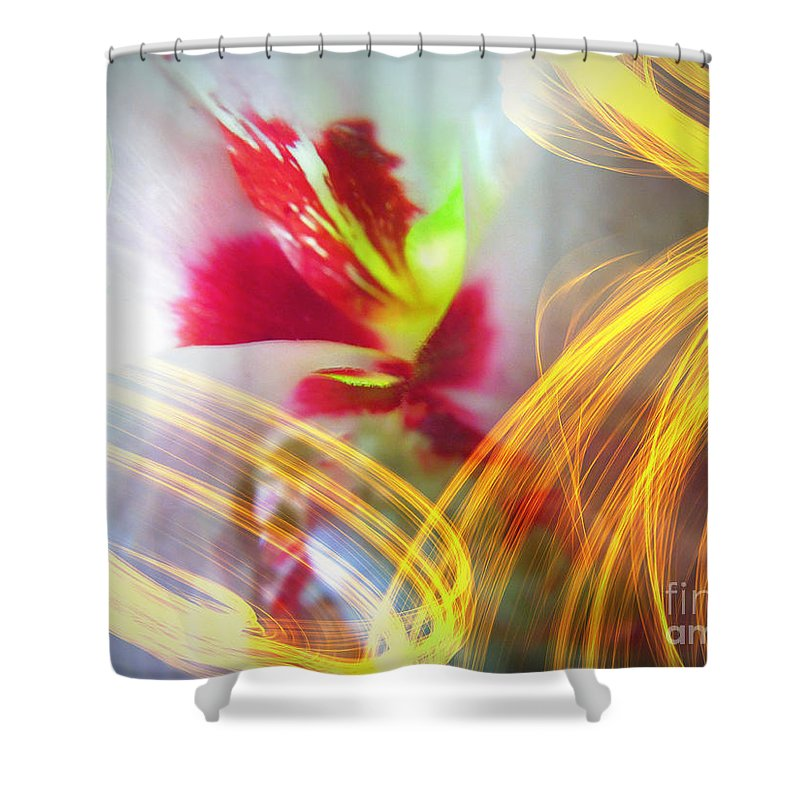 Fireworks Shower Curtain featuring the digital art Fireworks by Renee Trenholm