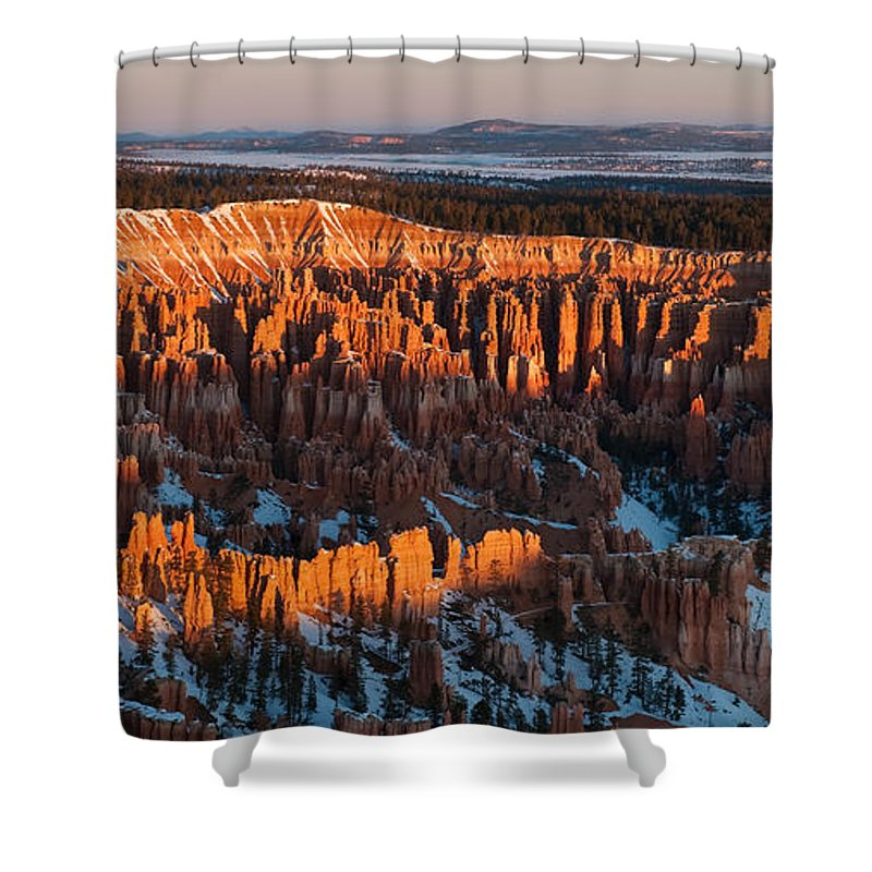 Bronstein Shower Curtain featuring the photograph First Light at Bryce Canyon by Sandra Bronstein