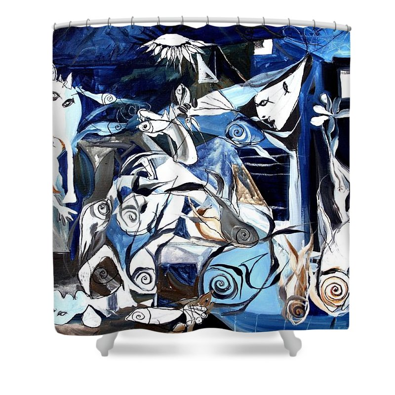 Fish Shower Curtain featuring the painting Fish Guernica by J Vincent Scarpace