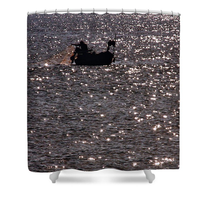 Adventure Shower Curtain featuring the photograph Fisherman by Stelios Kleanthous