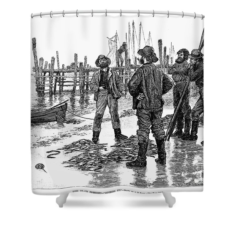 1884 Shower Curtain featuring the photograph Fishermen On Shore, 1884 by Granger
