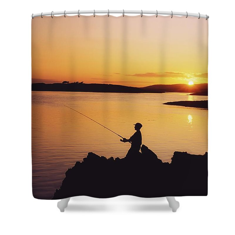 Beauty In Nature Shower Curtain featuring the photograph Fishing At Sunset, Roaring Water Bay by The Irish Image Collection