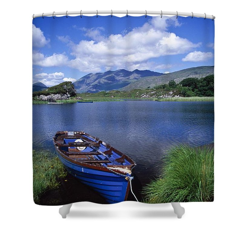 Lake Shower Curtain featuring the photograph Fishing Boat On Upper Lake, Killarney by Gareth McCormack