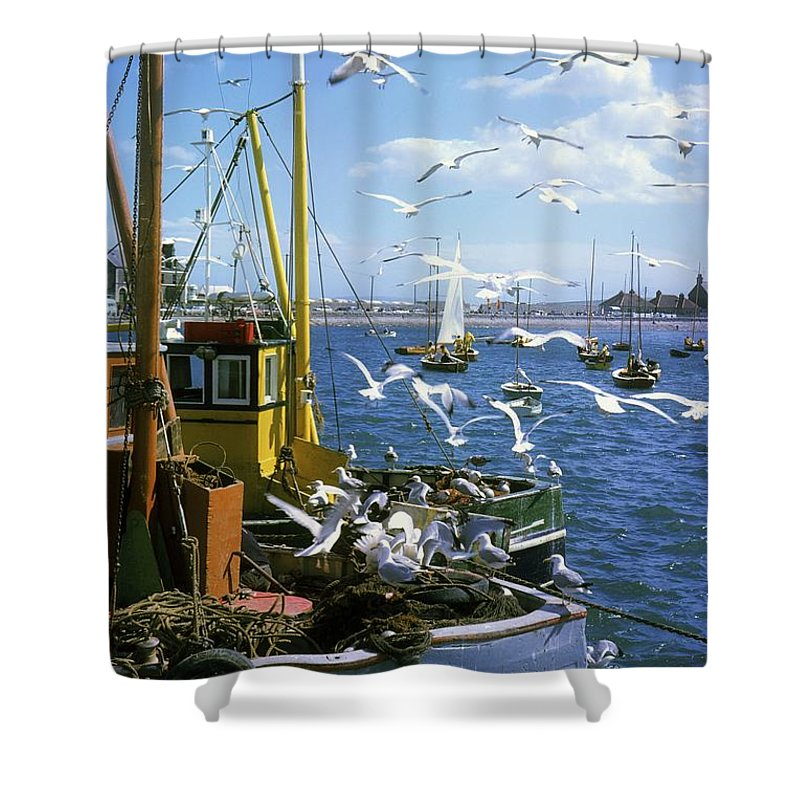 Bay Shower Curtain featuring the photograph Fishing Boat by The Irish Image Collection