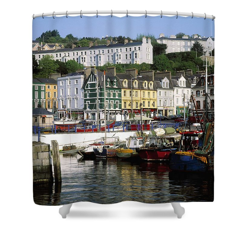 Boat Shower Curtain featuring the photograph Fishing Boats Moored At A Harbor, Cobh by The Irish Image Collection