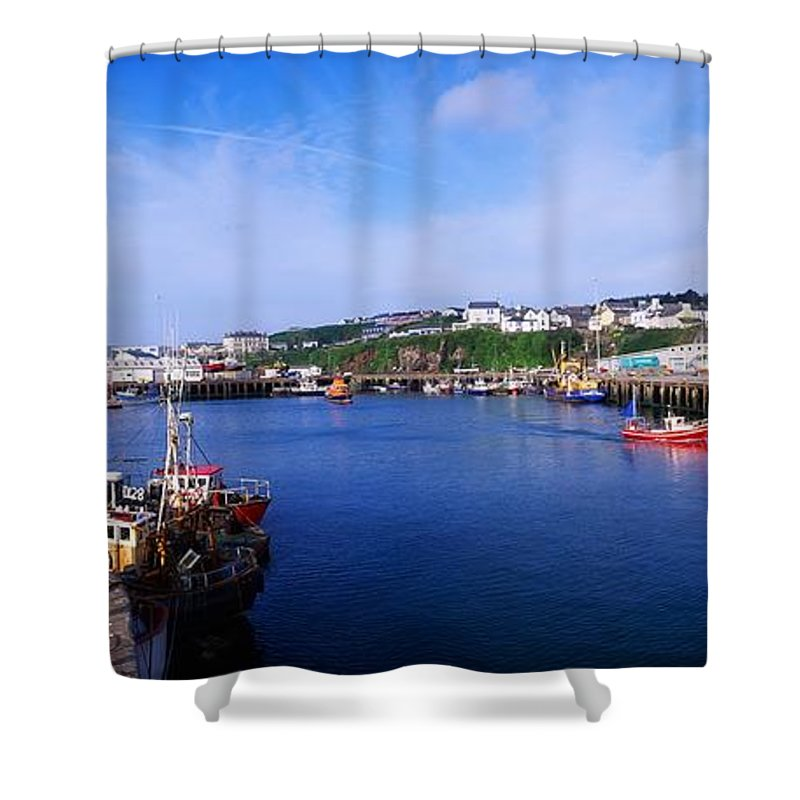 Boats Shower Curtain featuring the photograph Fishing Harbour, Dunmore East, Ireland by The Irish Image Collection