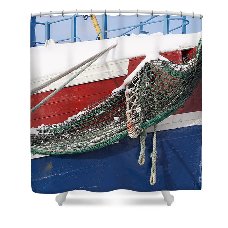 Ship Shower Curtain featuring the photograph Fishing Vessel In Winter's Rest by Heiko Koehrer-Wagner