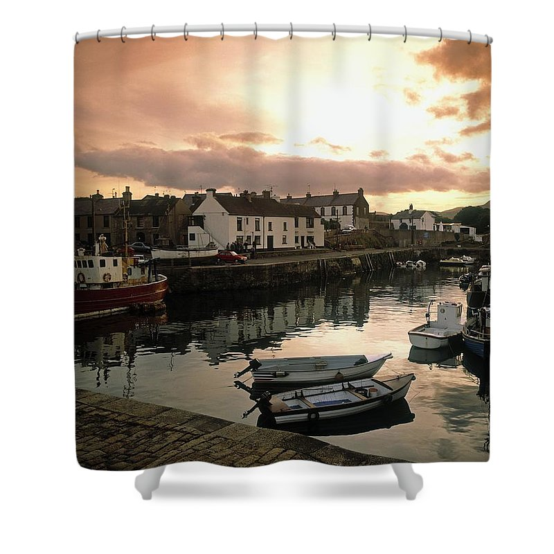 Boat Shower Curtain Featuring The Photograph Fishing Village In Ireland By Irish Image Collection
