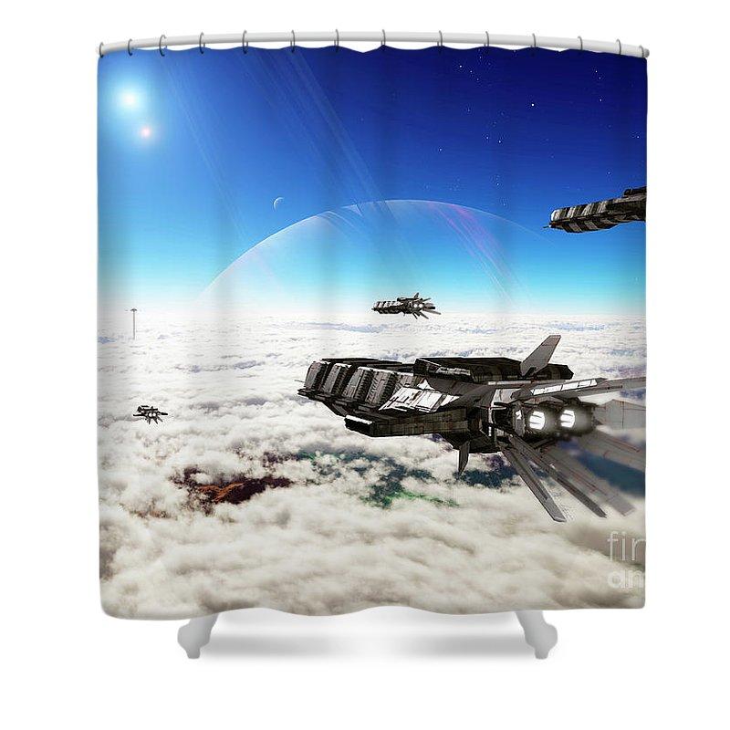 Artwork Shower Curtain featuring the digital art Five Medium Freighters Deccelerate by Brian Christensen