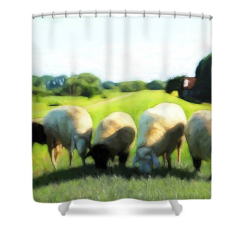 Sheep Dyke Green Grass Tree Trees Old Farm Farmhouse Farmer Farmland Painting Shower Curtain Featuring The