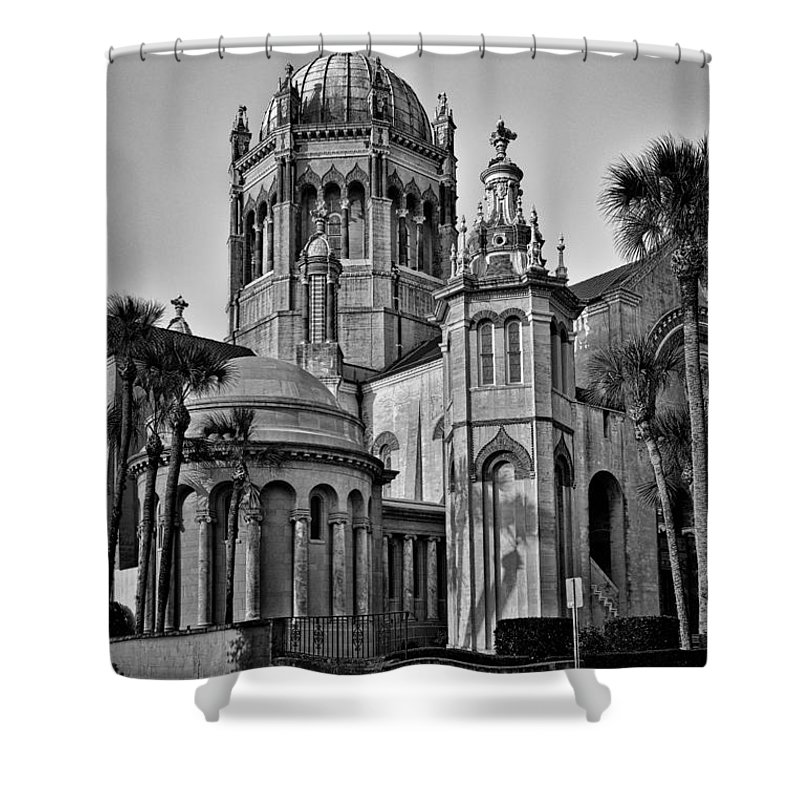 Flagler Shower Curtain featuring the photograph Flagler Memorial Presbyterian Church 3 - Bw by Christopher Holmes