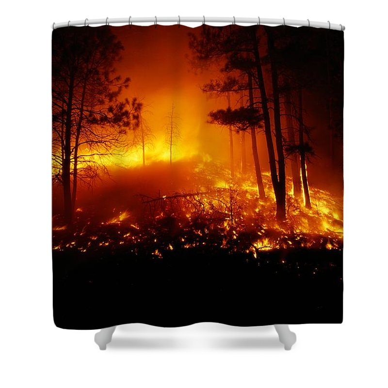 united States Shower Curtain featuring the photograph Flames From A Forest Fire Light by Raymond Gehman