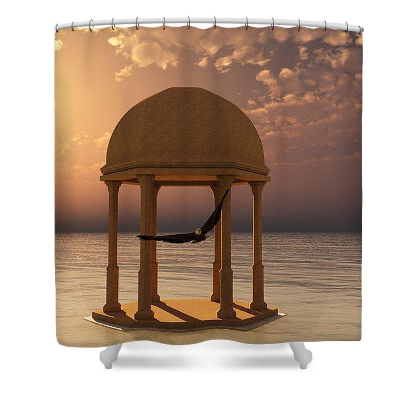 Eagle Shower Curtain featuring the digital art Flooded Dreams by Georgiana Romanovna