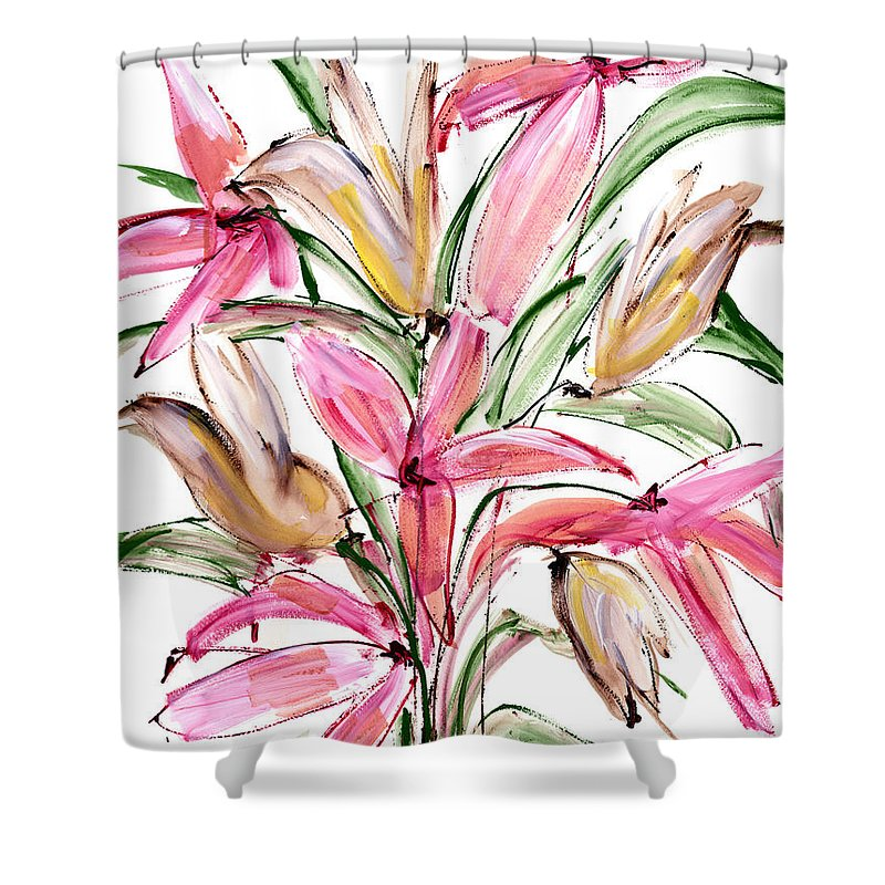 Flower Shower Curtain featuring the painting Floral Fourteen by Lynne Taetzsch