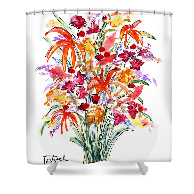Flowers Shower Curtain featuring the painting Floral Six by Lynne Taetzsch