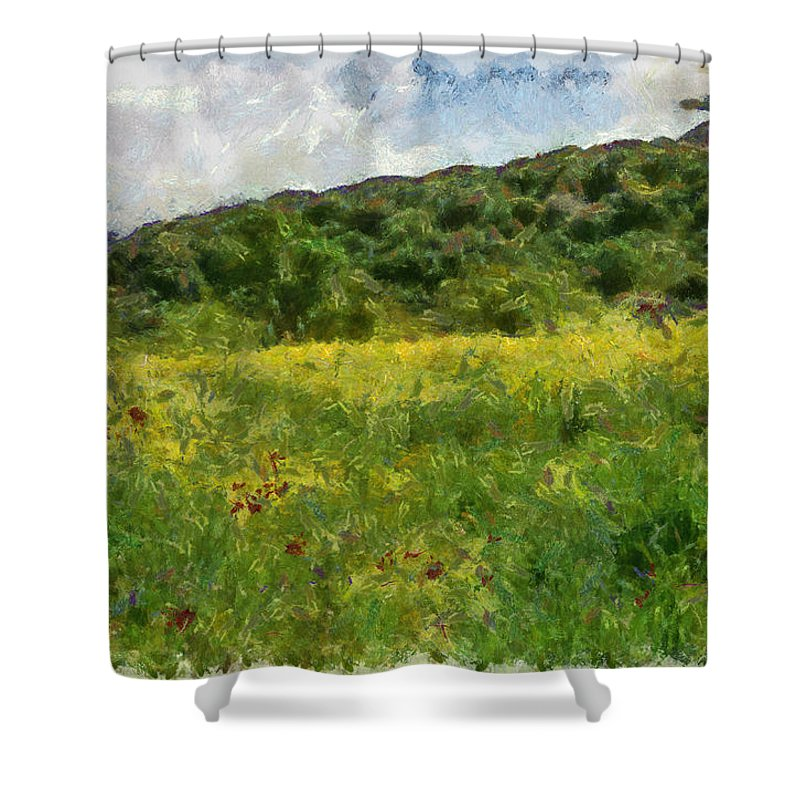 Meadow Shower Curtain featuring the photograph Flowering Fields by Michael Goyberg