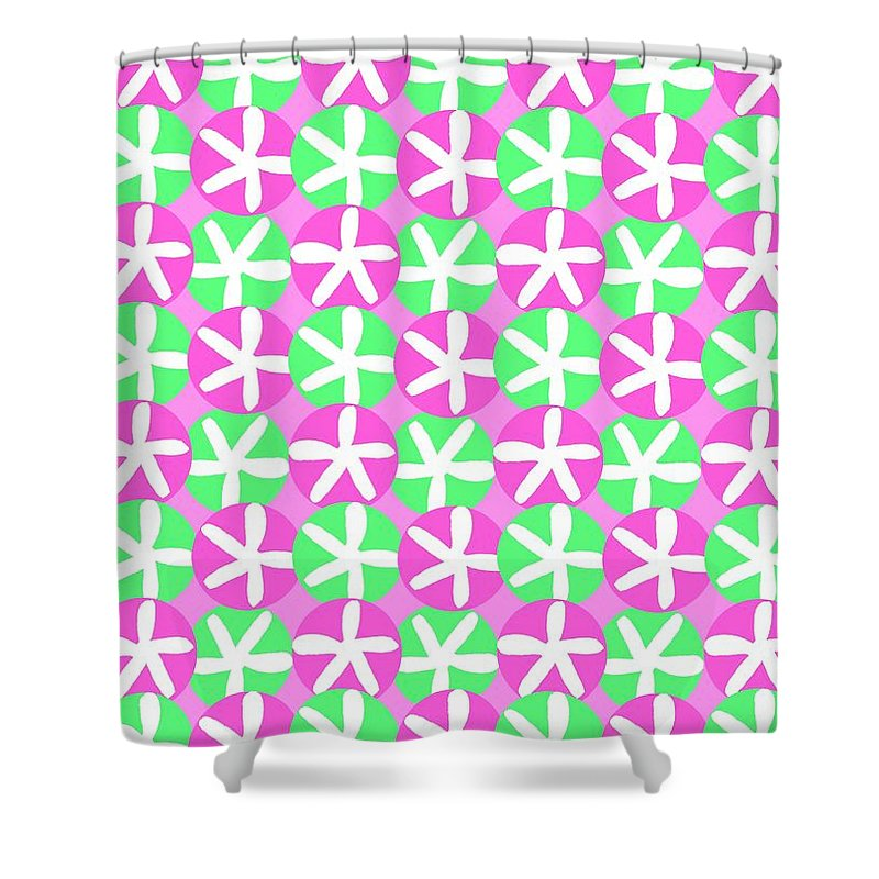 Flowers And Spots (digital) By Louisa Knight (contemporary Artist) Shower Curtain featuring the digital art Flowers And Spots by Louisa Knight