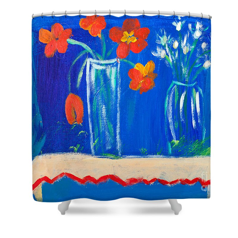 Dahlia Shower Curtain featuring the painting Flowers In Vase by Simon Bratt Photography LRPS