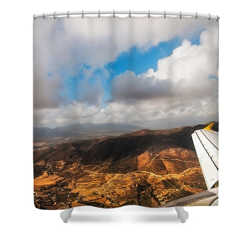 Aerial Shower Curtain featuring the photograph Flying Over Spanish Land IIi by Jenny Rainbow