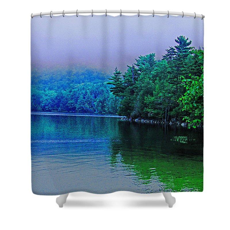 Fog Shower Curtain featuring the digital art Foggy Mountain Pond by Lizi Beard-Ward