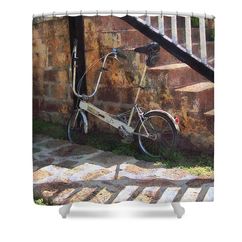 Bicycle Shower Curtain featuring the photograph Folding Bicycle Antigua by Susan Savad