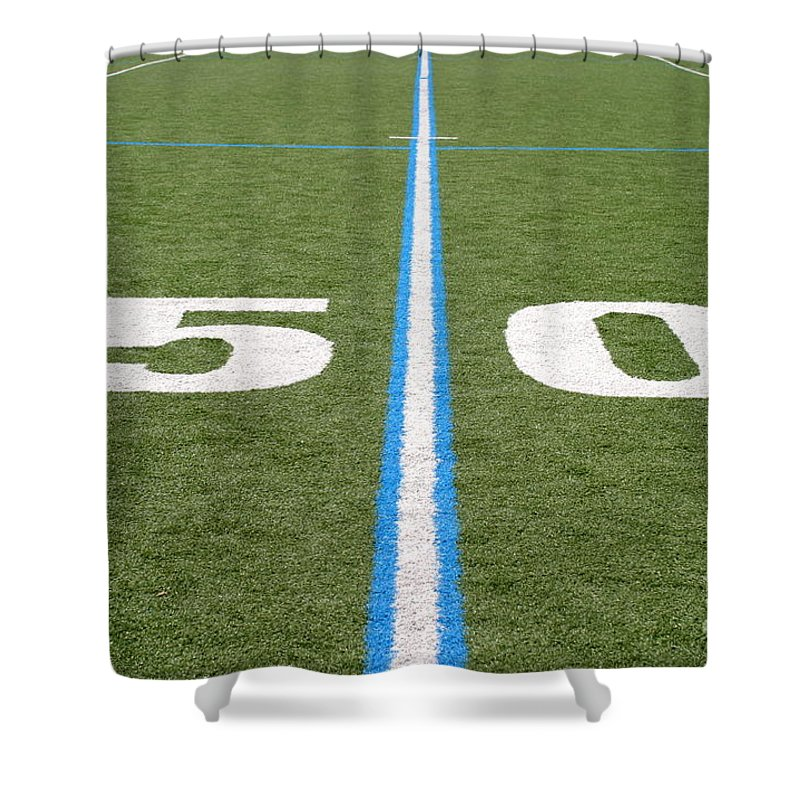 American Shower Curtain featuring the photograph Football Field Fifty by Henrik Lehnerer