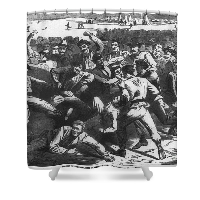 1865 Shower Curtain featuring the photograph Football: Soldiers, 1865 by Granger