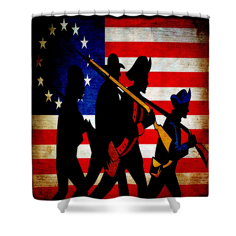 Usa Shower Curtain featuring the mixed media For Liberty by Angelina Vick