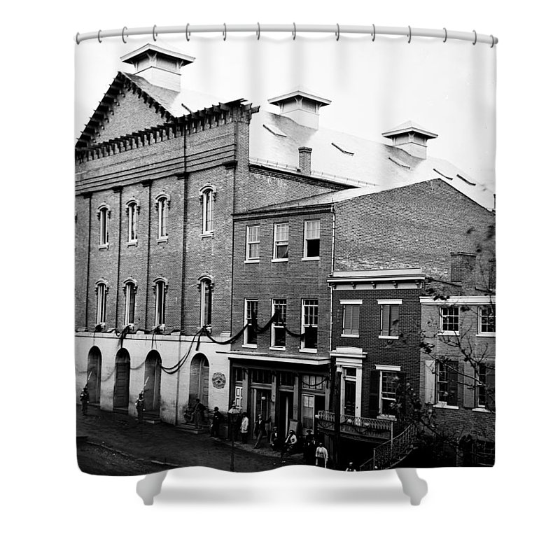 fords Theater Shower Curtain featuring the photograph Fords Theater - After Lincolns Assasination - 1865 by International Images