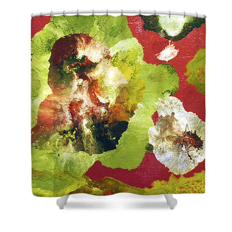 Abstract Shower Curtain featuring the painting Forest by Sumit Mehndiratta