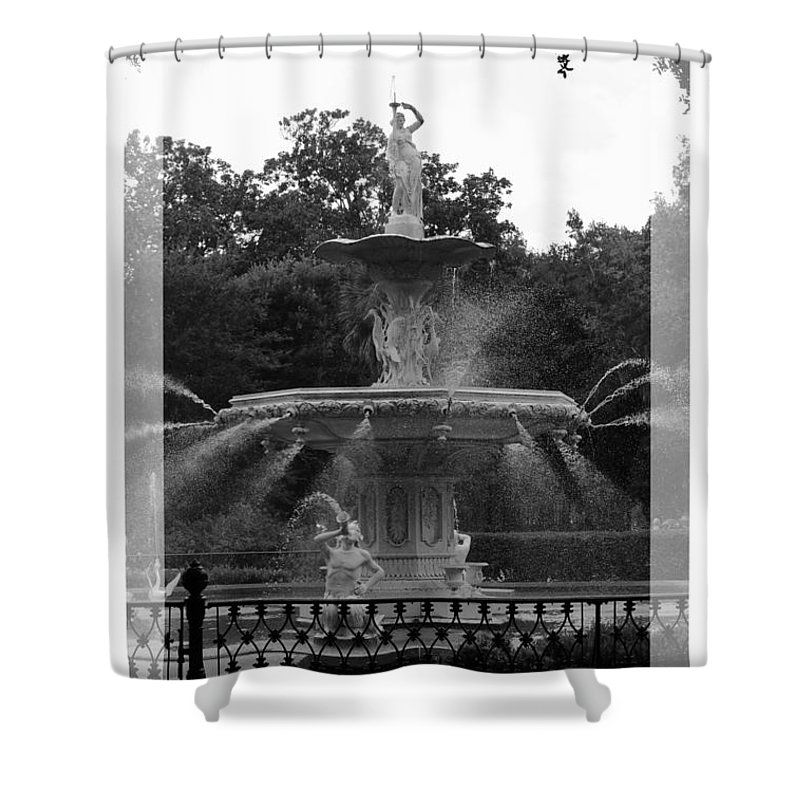 Forsyth Park Shower Curtain featuring the photograph Forsyth Park Fountain - Black And White by Carol Groenen