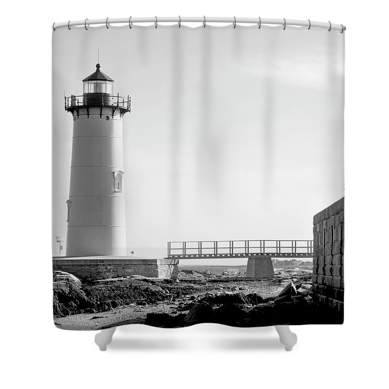 Lighthouse Shower Curtain featuring the photograph Fort Constitution Light by Greg Fortier